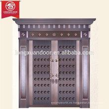 Puerta de bronce exterior de lujo de encargo de la fábrica, puerta doble del oscilación del cobre
