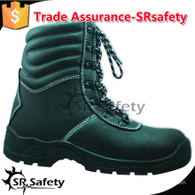 SRSAFETY high quality emboss cow split leather safety shoes black steel safety shoes