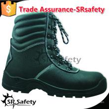 SRSAFETY высокое качество тиснение корова сплит кожа безопасности обувь черные стали безопасности обувь