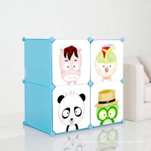 4 Двери Мультфильм Пластиковые шкафы для хранения DIY для детей (ZH001-6)
