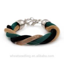 Moda verão fresco fio tecer pulseira para mulheres