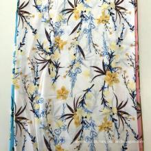 Rayon 45S Screen Print Flower Design Vestido de Mulher