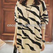 12STC0627 Zebra-полосой девушки негабаритных свитера