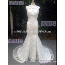 2015 Mermaid High Neck Lace Vestido de casamento com Capela Trem Ivory Sleevless vestido de noiva