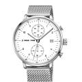 marca de cronógrafo reloj de cuarzo malla de acero inoxidable cinturón y banda de cuero