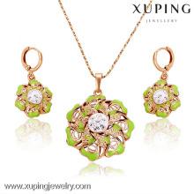 62479-Xuping Special Design Ensemble de bijoux en gros 18K plaqué or bijoux