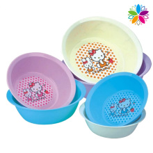 Cute Cartoon Design Round Plastic Washing Basin (SLP048)
