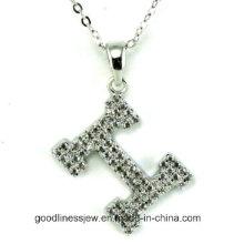 Alta qualidade H letras colar feito com AAA Zircon rhodium banhado a colares românticos colares para as mulheres N6612