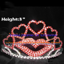 Red Lips with Heart Shaped Pageant Crowns