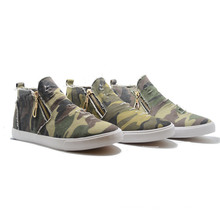 New Camouflage Zippor Classical Canvas Casual Student Men Shoes