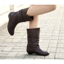 Botas de couro de salto liso mulheres botas