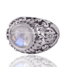 Belle conception Rainbow Moonstone Gemstone 925 Sterling Silver Ring
