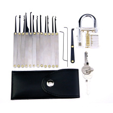 Candado de práctica transparente con 15PCS Mango de metal Herramientas de captura de cerradura (Combo 3)