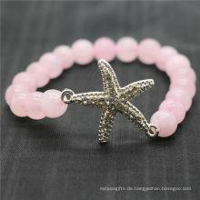 Rose Quarz 8MM runde Perlen Stretch Edelstein Armband mit Diamante Legierung Starfish Stück