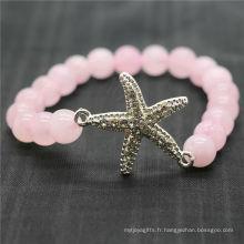 Rose Quartz 8MM Perles rondes Stretch Gemstone Bracelet avec diamant alliage Starfish Piece
