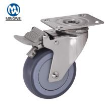 4-дюймовое колесо TPR для тяжелых условий эксплуатации с тормозом