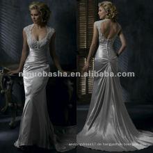 Appliques Büste sleeveless rückenfreies Satinhochzeitskleid / Brautkleid
