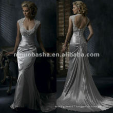Appliques bust sleeveless backless satin wedding dress/bridal gown