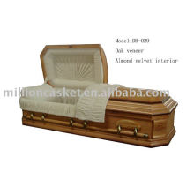 Oak wood veneer casket funeral product