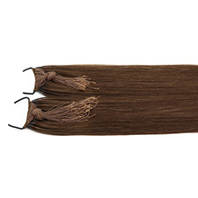 Straight Brown Color Customized Thread Knotted Tied Hair Extensions Human Virgin Remy Hair