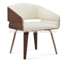 Muito confortável almofada de couro branco elegante cadeira do hotel, cadeira de jantar com 4 perna de cromo HY3010-2