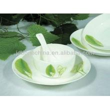 Hojas verdes corte natural decoración porcelana cerámica placa de hueso china