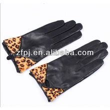 super animal leopard print fashion leather gloves for girls