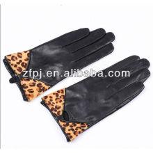 Luvas de couro da forma da cópia animal super do leopardo para meninas