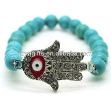 Türkis 8MM runde Perlen Stretch Edelstein Armband mit Diamante Evil Auge in der Mitte