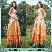 Guangzhou frock fashions printed wedding dress for godmother wedding guest dresses hot sale in uk
