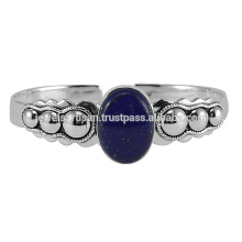 Lapis Gemstone 925 Sterling Silver Bangle