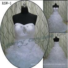 RSW1 Organza Ruffled vestidos de boda de la parte inferior