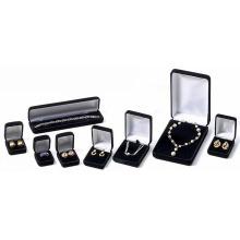 Cajas de joyas negras con terciopelo y logotipo impreso