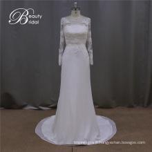 Romantique Bowknot Sash en mousseline de soie Robe de mariée en dentelle rose clair