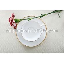 Ouro e branco multa osso de porcelana chá café conjuntos -eurohome ouro