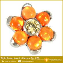 316L Surgical Steel Prong Set CZ Opal Flower Dermal Anchor Top