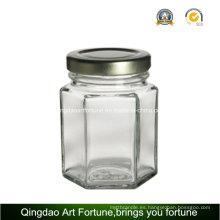 Botella de vaso de vidrio hexagonal para titular de la vela y decoración de almacenamiento