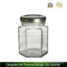 Hexagon Glass Jar Bottle for Candle Holder and Storage Decor