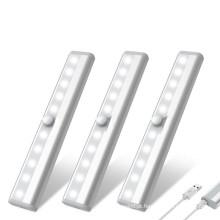 10LED USB recarregável sob gabinete Luz Sensor de movimento