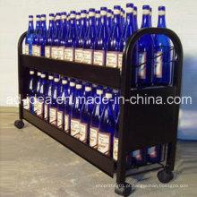 Suporte de exposição Rotatable do vinho do metal / exposição prática do metal com rodízio