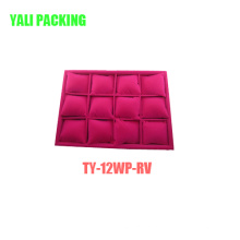 Красный Flocked 12 Pillows Bangle Bracelet Display Tray (TY-RBTW-12S)