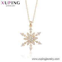 43985 dernière conception dame de couleur or 18 carats micro pave bijoux pendentif en forme de neige collier à vendre