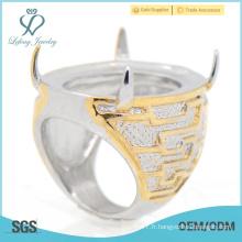 Bagues élégantes en or jaune avec des anneaux en acier inoxydable pour homme en gros