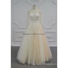 Long Sleeve Champagne Princess Lace Wedding Dress