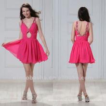 Шикарный V шеи плиссированные линии блокировки отверстие мини выпускной платье платье
