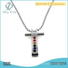 Colgante de plata de los amantes de la cruz del arco iris, colgantes del acero inoxidable para gay y lesbiana