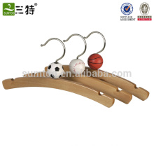 Wooden kids cartoon pants hangers with clips