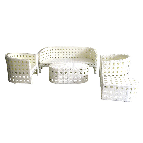 Outdoor Wicker Set White Garden Dining Set