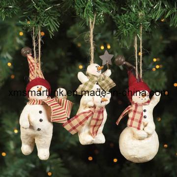 Poly résine Snowman on Ball Decoration, ornement suspendu de Noël