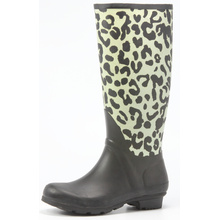 Light Leopard Printing Rubber Rain Boots